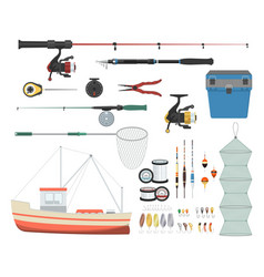 set of equipment for fishing vector image