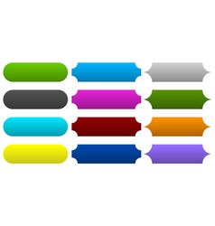 3 type banner button plaque shapes in 12 color vector