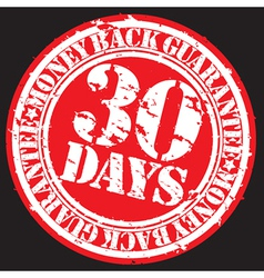 30 days money back guarentee stamp vector image