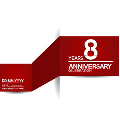 8 years anniversary design with red and white vector