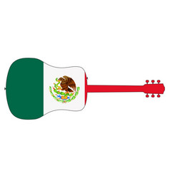 acoustic guitar silhouette with mexican national vector image