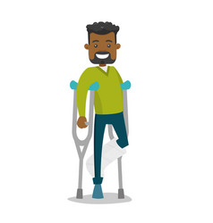 African-american man with broken leg and crutches vector