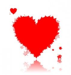 autumn love heart shape leaf vector image