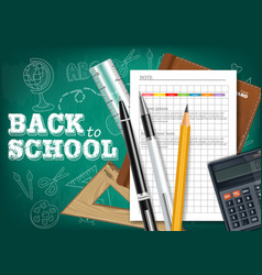 back to school tools realistic notes vector image