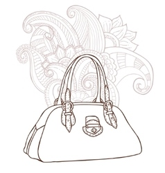 Bag with an ornament in the background vector image