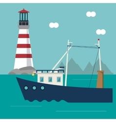 Boat lighthouse sea design vector