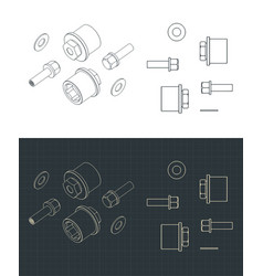Bolts adapters and wheel to axle fasteners vector