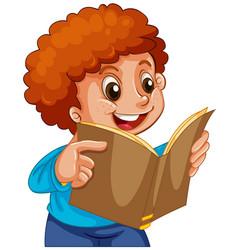 boy reading a book vector image