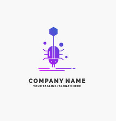 Bug insect spider virus web purple business logo vector