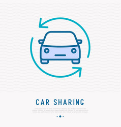Car in arrows thin line icon vector