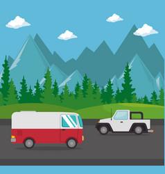 Cars vehicles transport scene vector