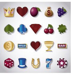Casino related icons vector