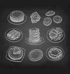 Chalk sketch set crepes and pancakes vector
