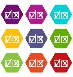 Checkmark to accept and refusal icon set color vector