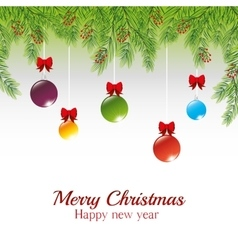 Christmas message pine needles with hanging balls vector