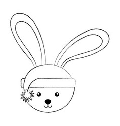 Christmas rabbit face cartoon vector
