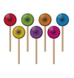 collection colorful lollipop candies vector image