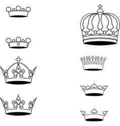 Collection of crown silhouette symbols vector