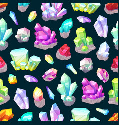 Crystals gemstones and minerals seamless pattern vector
