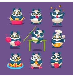 Cute Panda Emoji Collection With Humanized Cartoon vector