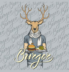 Deer with burger and french fries vector