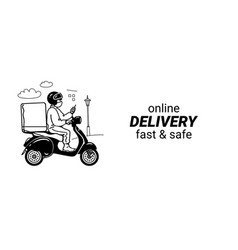 delivery man in face mask riding scooter vector image