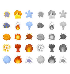 Different explosions cartoonmono icons in set vector