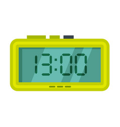 Digital alarm clock green electronic time vector