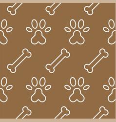 dog seamless pattern theme bone paw foot print vector image