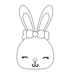 Dotted shape shy rabbit head female wild animal vector