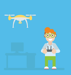 Drone and guy with remote controls vector