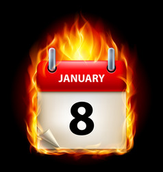 Eighth january in calendar burning icon on black vector