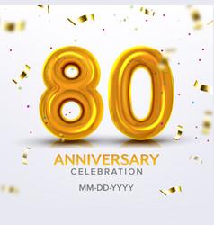 Eightieth anniversary celebration number vector