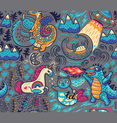 Fantastic creatures animal pattern cute vector