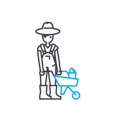 farmer linear icon concept farmer line vector image