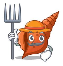 farmer long shell character cartoon vector image