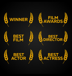 film festival set laurel winner best film vector image