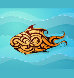 fish decorative tattoo shape vector image