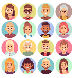 Flat avatars different portraits men and women vector