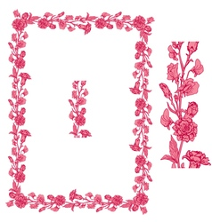 Flower frame pink 2 380 vector