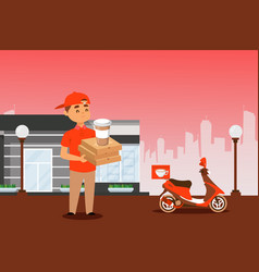 Food delivery courier with pizza box and coffee vector
