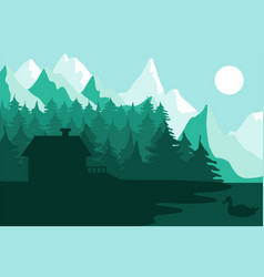 Forest house near mountains vector