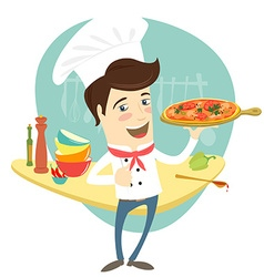 Funny chef serving pizza dish in the kitchen vector
