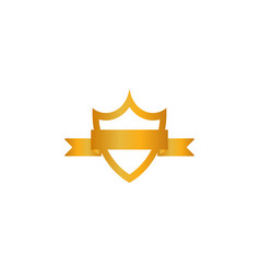 gold shield emblem ribbon icon golden sign vector image