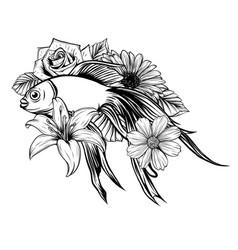 goldfish swimming entangle stylized cartoon vector image