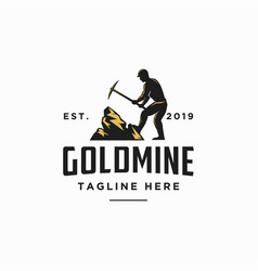 Goldmine worker logo icon worker logo vector