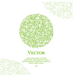 Green leaves emblem in shape of circle vector