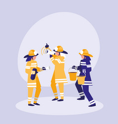 group of firefighters avatar character vector image