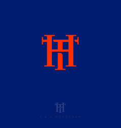 H and t monogram consist intertwined lines vector