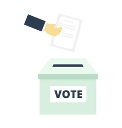 Hand Putting Paper in the ballot box - flat vector image